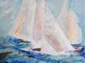 Segelbåtar, Akryl Olja