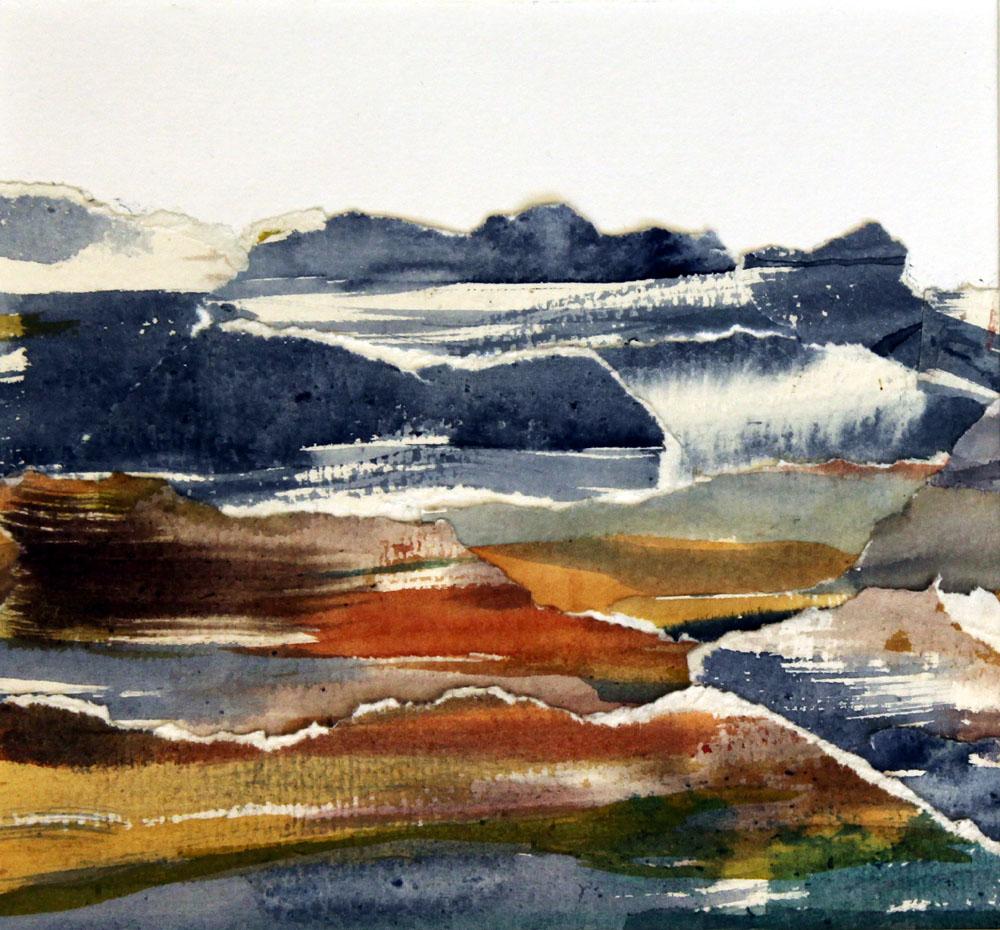 Vatten, akvarellcollage