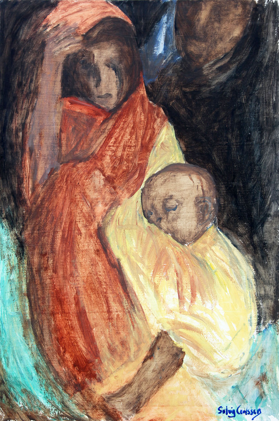 61x90, olja på pernå, moderskärlek
