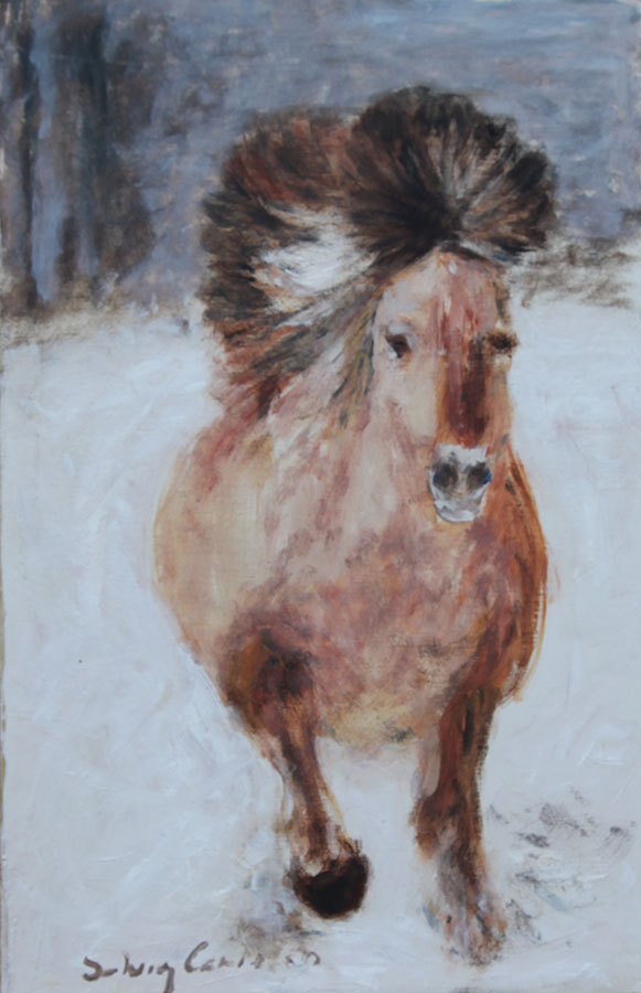 Häst, olja på pernå, 27x41