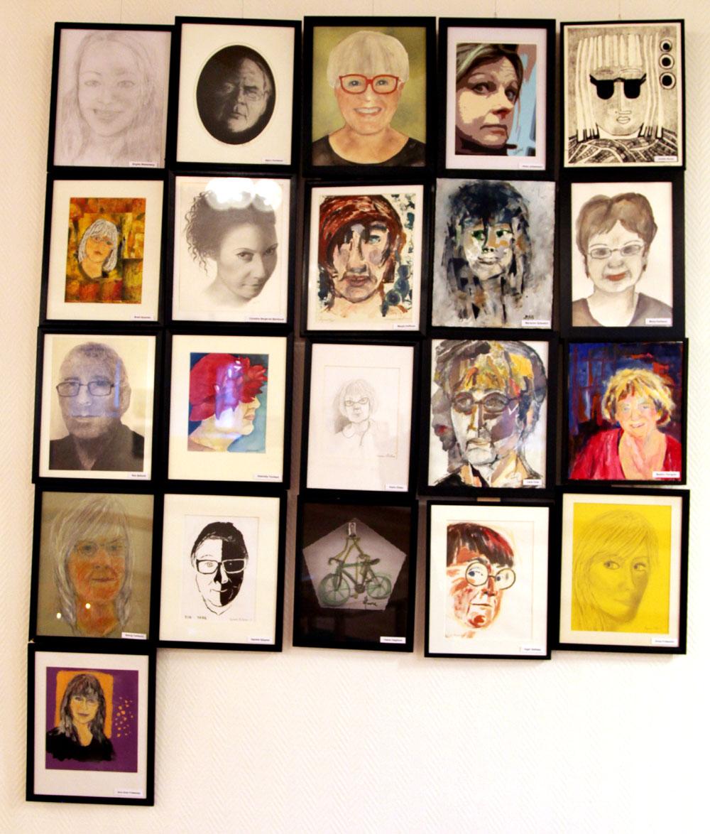 Självporträtt av alla oss medlemmar i Grafik99 / bildverket, med verkstad /atelje i Kalmar.